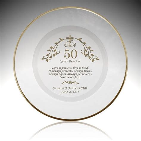 50th Wedding Anniversary Gifts Religious by Religious 50th Anniversary Glass With Gold Plate