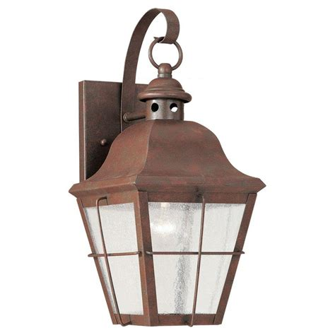 Outdoor Copper Light Fixtures Sea Gull Lighting Lancaster Wall Mount 1 Light Outdoor Black Fixture 8067 12 The Home Depot