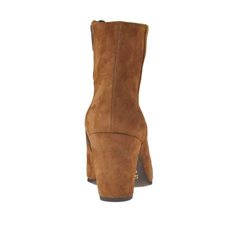 s ankle boot with zipper in tobacco suede heel 7