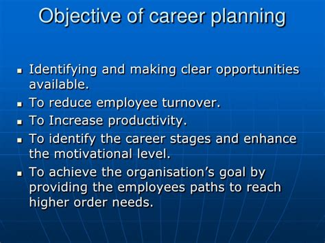 career planning objectives career planning