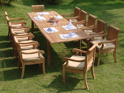 backyard patio set 11 piece grade a teak dining set large oval table and