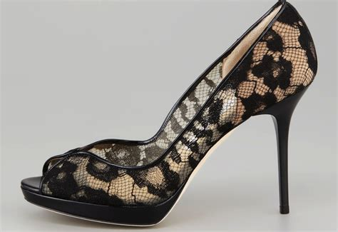 sheer and black lace wedding shoes onewed