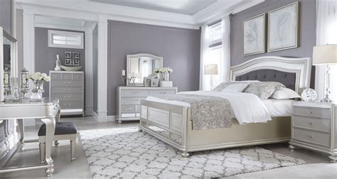 silver bedrooms coralayne silver bedroom set from ashley b650 157 54 96