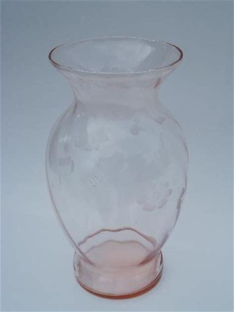 vintage pink depression glass flower vase lot