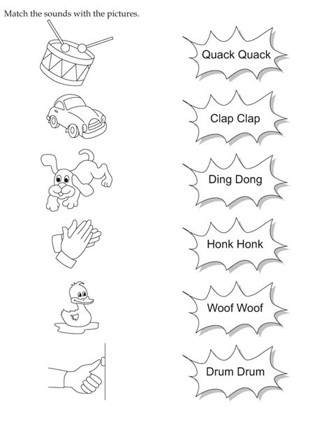 Match The Sounds With The Pictures Download Free Match Sound Of Coloring Pages