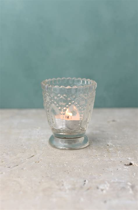 6 clear glass hobnail heirloom votive candle holders