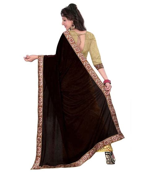Plain Velvet Blouse buy black plain velvet saree with blouse