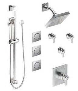 Moen 876 chrome thermostatic shower system with rain shower 3 volume