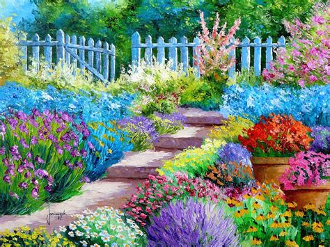 Flower Garden Painting Art Wallpaper 1600x1200 176827 Flower Garden Paintings