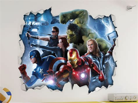 Boys Wall Stickers Uk marvel avengers 3d look wall vinyl sticker poster
