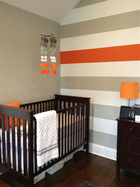 boys room accent wall gray white orange nursery the stripes truly you baby rooms blessedly beautiful