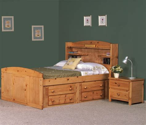 Beds With Headboard Storage Knotty Pine Wooden King Size Captain Storage Bed With Two Tier Drawers And Bookshelf Headboard
