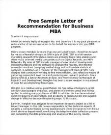 Recommendation Letter Format Mba Reference Letter For Mba The Best Letter Sle