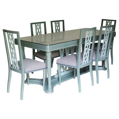 Dining Table With 6 Chairs Sale Italian 1940s Dining Table And Six Chairs With Criss Cross Motif For Sale At 1stdibs