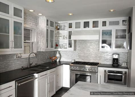 Black Glass Countertops by Glass Marble Mixed White Kitchen Backsplash Tile This