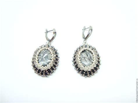 grey beading grey bead earrings with jasper winter twilight shop
