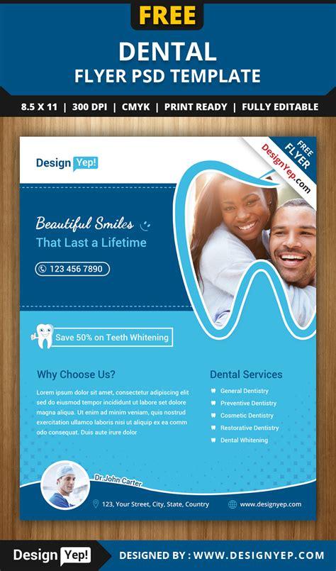 Free Dental Flyer Psd Template Designyep Dental Brochure Template