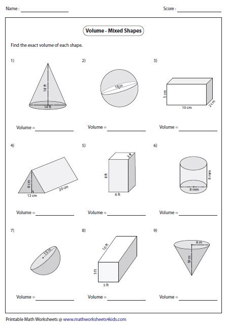 printable math worksheets surface area mixed shapes volume of irregular shapes worksheets free worksheets