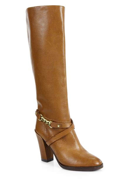 kate spade boots kate spade montreal leather belted kneehigh boots in brown
