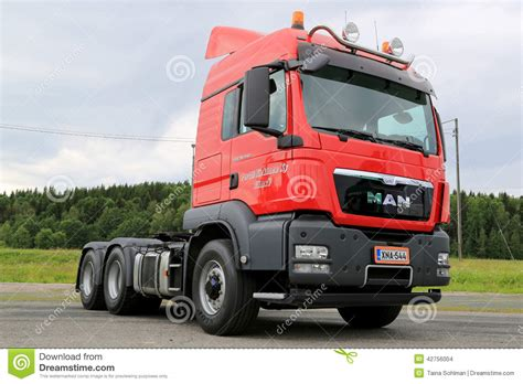 red man tgs heavy truck tractor editorial stock image image