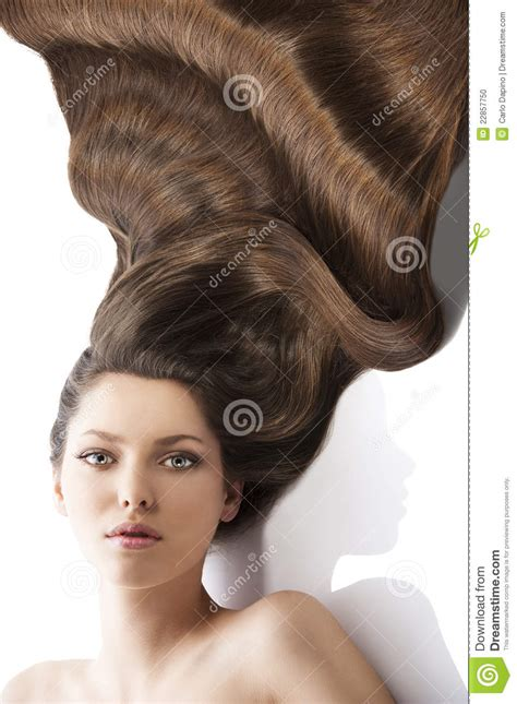 women with lots of hair beauty young girl hairstyle and a lot of hair stock photo