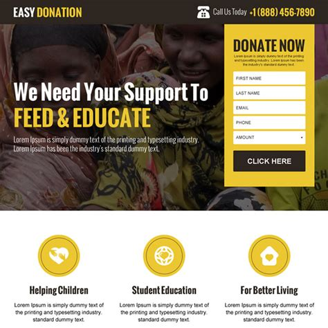 donation page template charity and donation landing page design templates to