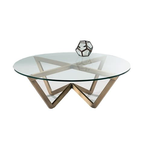 nord zenith circular glass coffee table brass effect