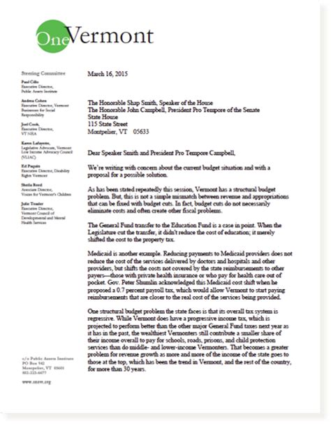 Vermont Legislative Report Template Letter To Legislative Leaders Budget Cuts Unnecessary