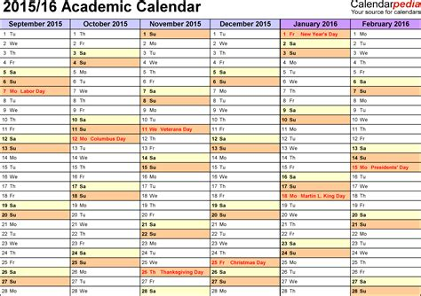 academic calendars 2015 2016 as free printable excel templates