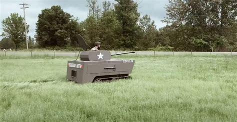 guy mods ride lawnmower wooden tank borninspace