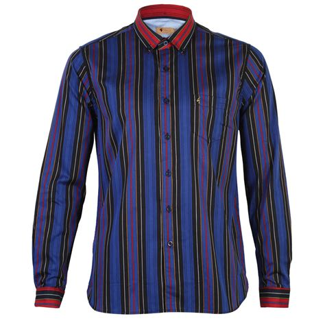 Tirajeans Shirt Vintage Stripes new mens gabicci vintage sleeve stripe print collared shirt top size s ebay
