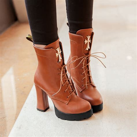 new arrival 2015 western boots lace up chunky heels