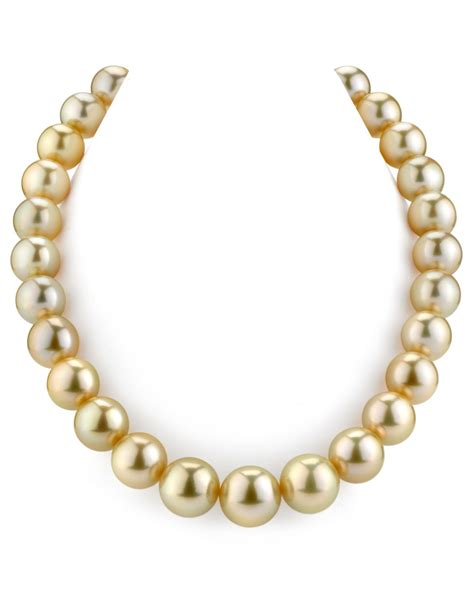 certified 14 16mm golden south sea pearl necklace aaaa