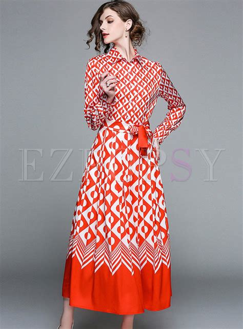 Ethnic Belted Dress M L 18254 ethnic geometry patter belted maxi dress ezpopsy