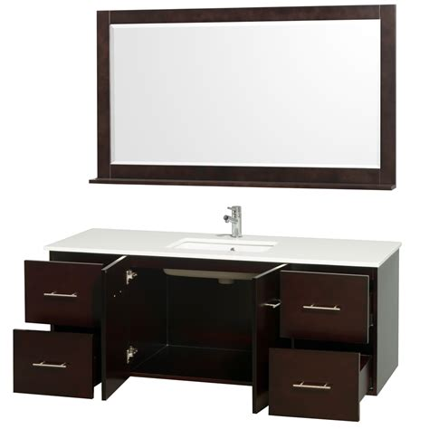 centra espresso 60 quot modern single sink bathroom vanity by