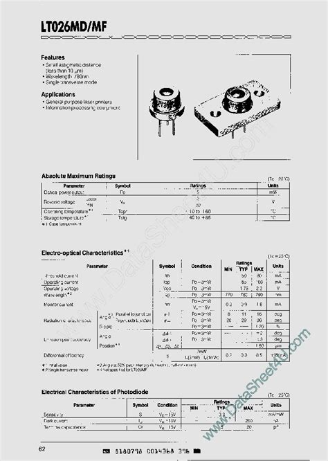 diode lasers pdf lt026md 850804 pdf datasheet ic on line