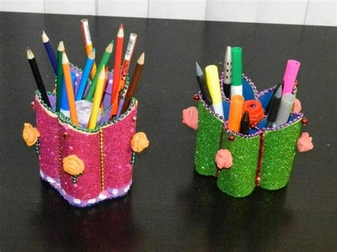 How To Make Pen Stand Using Paper - flower shaped pen stand simple craft ideas