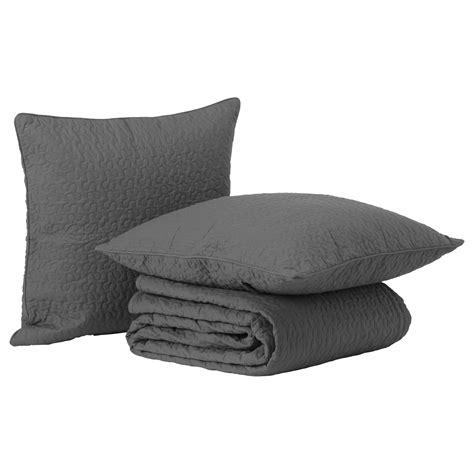 2 Cushion Covers Alina Bedspread And 2 Cushion Covers Grey 260x280