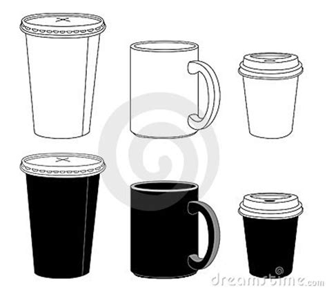 outline template paper glass  mug royalty  stock