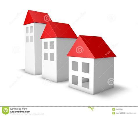 rossi bianco case semplici 3d con i tetti rossi su bianco illustrazione