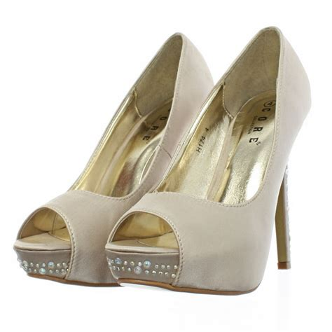 gold shoes size 3 womens wedding prom peep toe gold chagne diamante