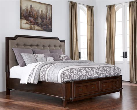 upholstered king bed with storage larimer cal king upholstered storage bed b654 78 76 95