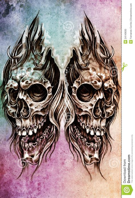 sketch of tattoo art skull head illustration stock