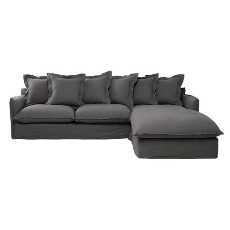 linen corner sofa 7 seater washed linen corner sofa in light grey barcelone