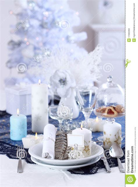 place setting for christmas stock photos image 17092283