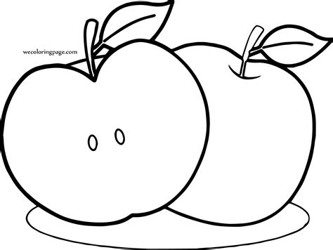 apple slices coloring page apple full and slice coloring page wecoloringpage