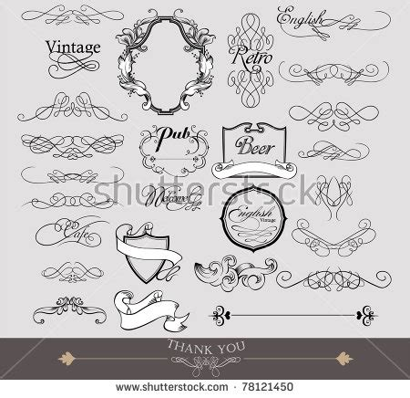 vector wedding design elements and calligraphic page decoration calligraphic design elements page decoration stock vector