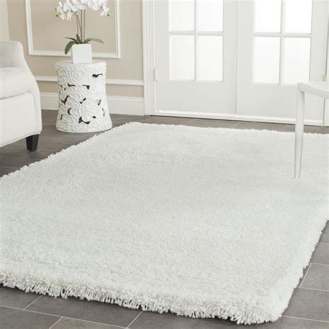 big white rug safavieh shag white area rug reviews wayfair