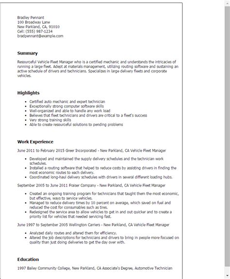 Fleet Coordinator Sle Resume by Professional Vehicle Fleet Manager Templates To Showcase Your Talent Myperfectresume