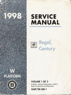 car repair manual download 1998 buick century electronic throttle control 1998 buick regal century service manual 3 volume set